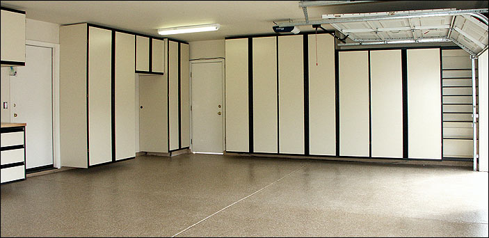 Almond finish garage cabinets and Med-Tan Epoxy Floor.
